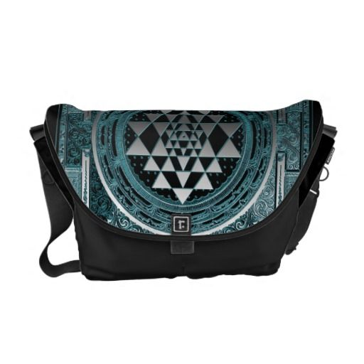 Messenger Bag geometry symbol blue silver yoga  geometry, symbol, blue, silver, yoga, travel, asia, siryantra, srichakra, meditation, india
