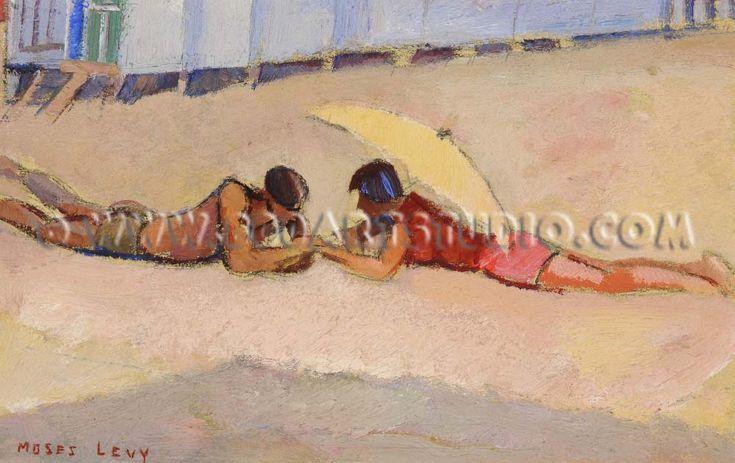 """Moses Levy (Tunisi 1885 - Viareggio (Lu) 1968), """"SPIAGGIA"""", 1954. Pastello su carta, cm. 10,3x21 Firmato in basso a sinistra: Moses / Levy, datato in basso a destra: 1954.  Certificato su foto di L. Levy, Viareggio 12.2.97. Casa d'aste Farsettiarte"""