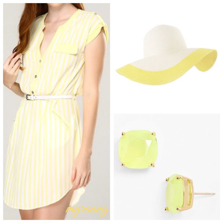 MyraAng yellow dress with earrings & hat