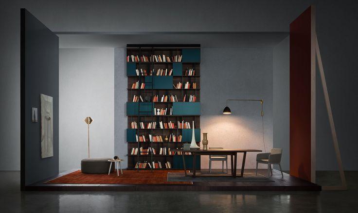 Muebles Pulido. Decoracion e interiorismo. Madrid | Libreria vertical azulón #libreria #madrid #decoracion #mobiliario #salones