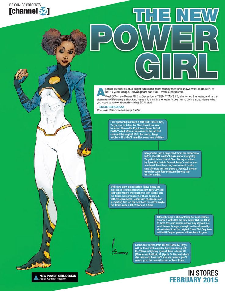 "A new Power Girl, Tanya Spears, is joining the Teen Titans and now I think I might have a new comic series to give a try! It looks so much better with no boob window but I just like the over all look. The outfit could use a little bit less of a painted on look around the torso area (how did it get in her belly button?). Sure the jacket seems kinda 90s, like Superboy's old look, but I think she pulls it off without coming off too ""Radikewl!""."