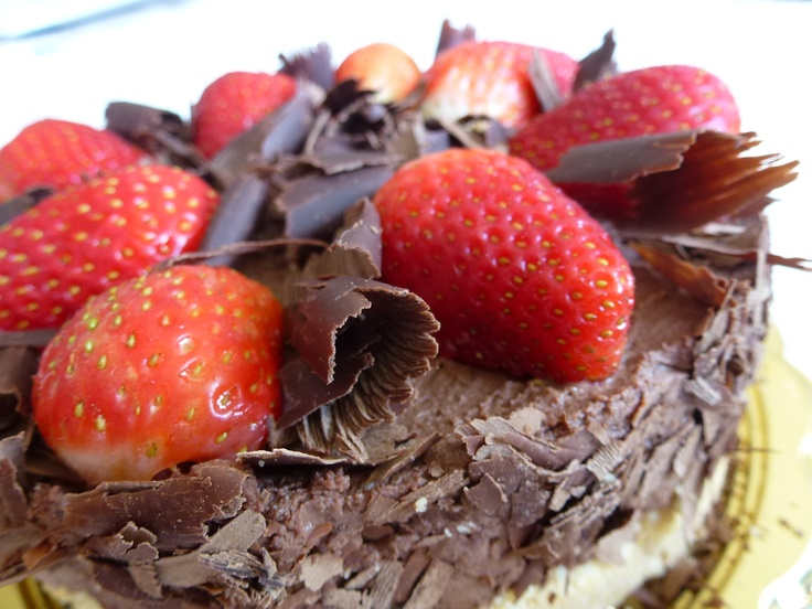A chocolate cheesecake with strawberries I made for my aunt