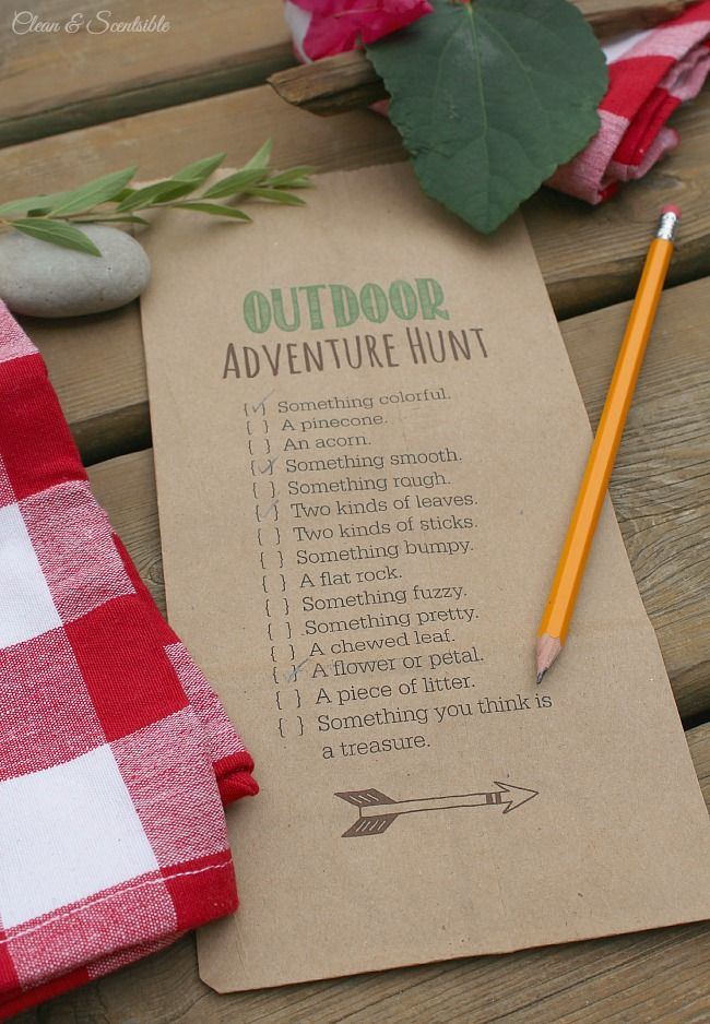 Canada Day Scavenger Hunt -Fun outdoor scavenger hunt and s'mores treat toppers with free printables included!  This would be fun for an outdoor party or camping trip.