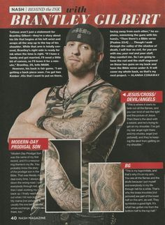 Brantley Gilbert's Tattoos