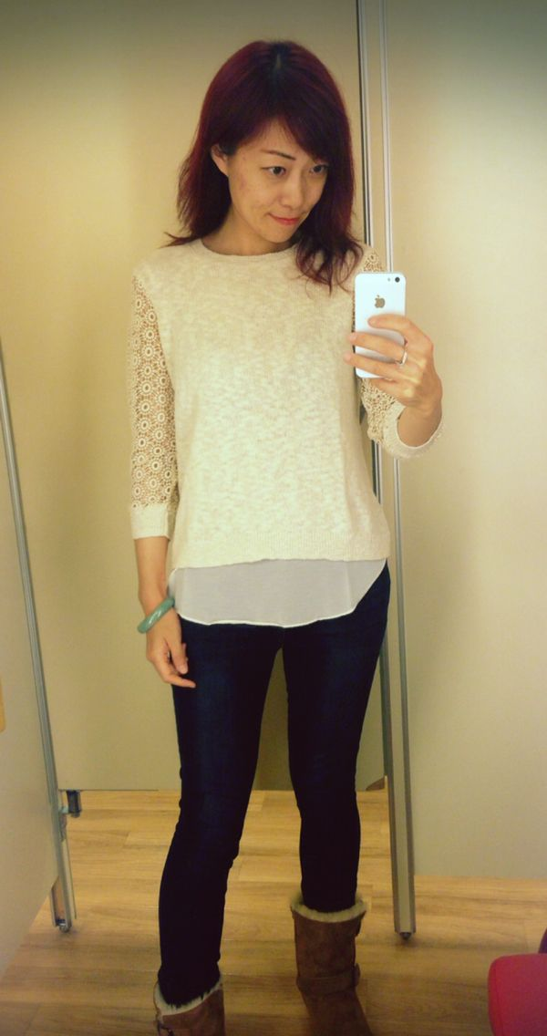 White top with laced selves from Lucky Brand, blue jeans; Ugg boots; ready for the spring