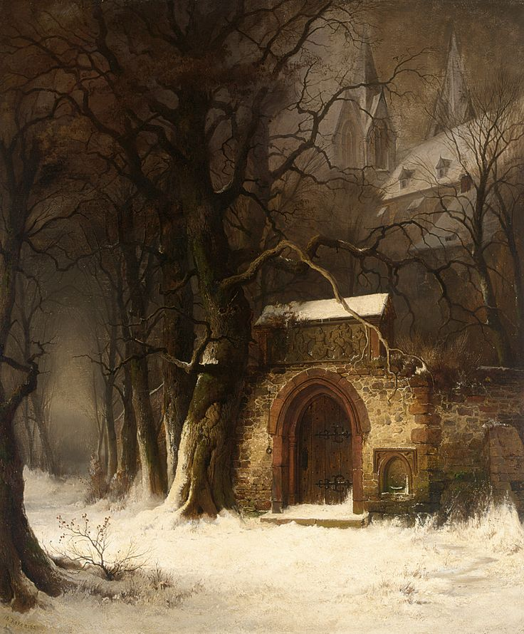 view of a church entrance in winter Edmund Koken (1814-1872)