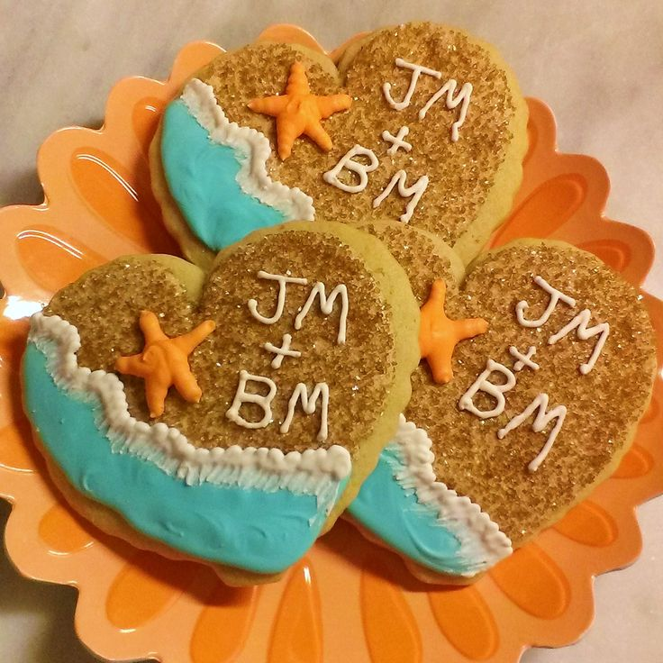 Beach Themed Wedding Shower Cookies