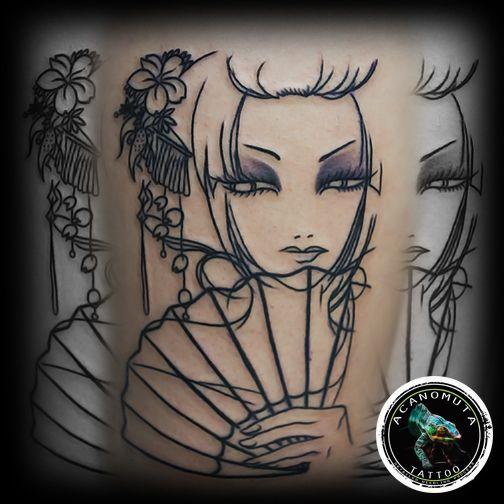 Geometric lined geisha tattoo is a perfect choice for your new half-sleeve tattoo www.acanomuta.gr
