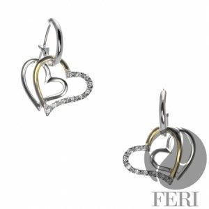 Valentine's Day 2015 925 fine sterling silver - 0.5 micron natural rhodium plating - 22 karat yellow plated gold