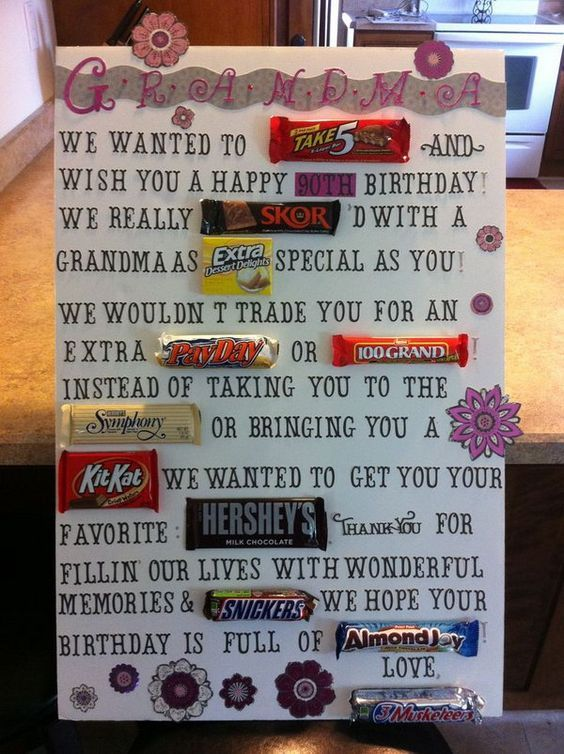 Candy Bar Poster for 90th Birthday of Grandma, http://hative.com/candy-bar-poster-ideas-with-clever-sayings/