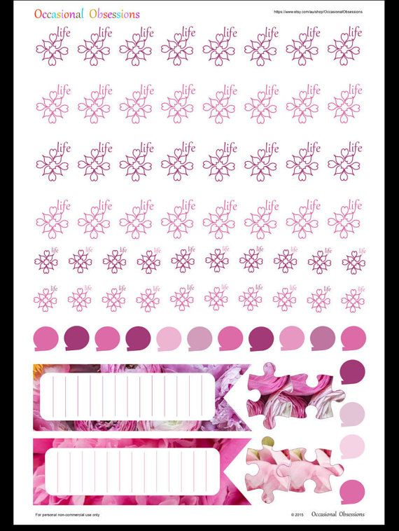 January Horizontal Raspberry Peony Water Hydrate Life design in  - Erin Condren Life Planner Stickers Printable PDF