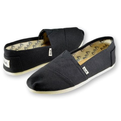 Black Espadrilles Flats Canvas Shoes Alpargata for Women