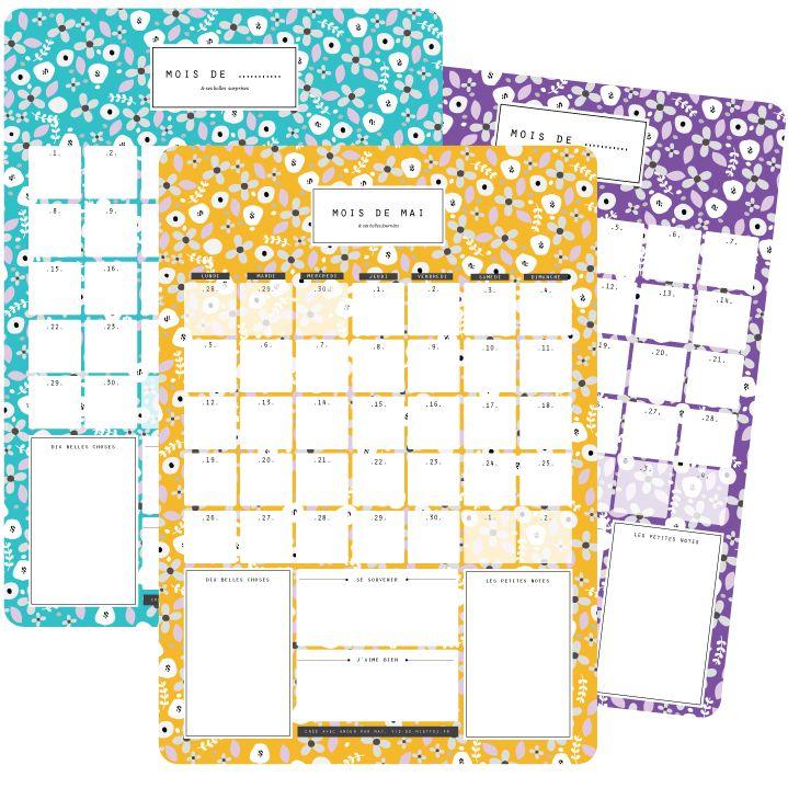 Mai : calendrier-organisateur mensuel à imprimer - Vie de Miettes --> Pour habiller son frigo, c'est pas mal aussi !