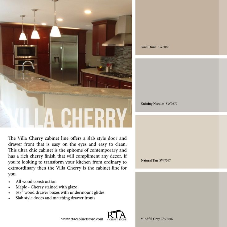 Gray Paint Color Palette: Cherry Kitchen Cabinets With Gray Wall And Quartz