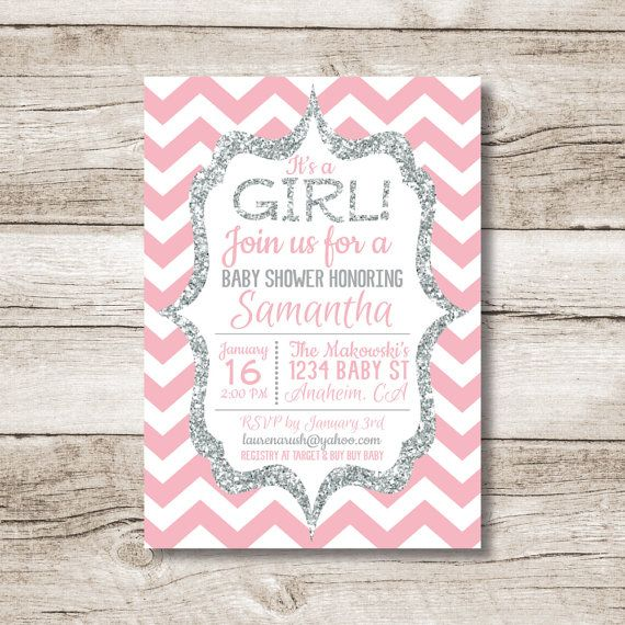 Pink and silver Chevron baby shower invitation, perfect for welcoming your sweet girl into this world! etsy.com/shop/bigmakdesigns