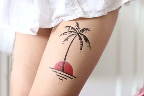 Palm Tree Removable Tattoos/ Colorful Tattoo/ Color Tattoo/ Big Tattoo / Nature Tattoo / Thigh Tatto
