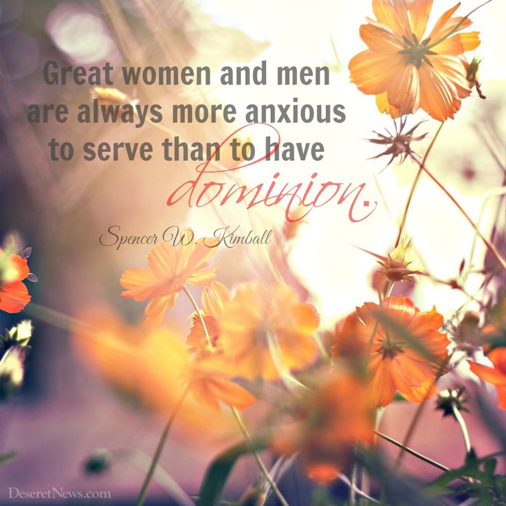 "Elder Ringwood quoted President Spencer W. Kimball: ""Great women and men are always more anxious to serve than to have dominion."" 
