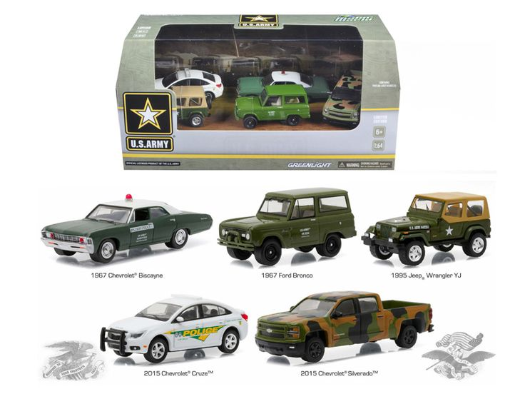 US Army Base 5 Cars Motor World Diorama Set 1/64 Diecast Model Cars by Greenlight - Brand new 1/64 scale diecast model cars US Army Base 5 Cars Motor World Diorama Set by Greenlight. Limited Edition. Metal Chassis, Serialized. Authentic wheels and real rubber tires. Approximate dimensions: 3 inches long. INCLUDES:. 1967 Chevrolet Biscayne. 1967 Ford Bronco. 1995 Jeep Wrangler YJ. 2015 Chevrolet Cruze. 2015 Chevrolet Silverado.-Weight: 3. Height: 8. Width: 15. Box Weight: 3. Box Width: 15…