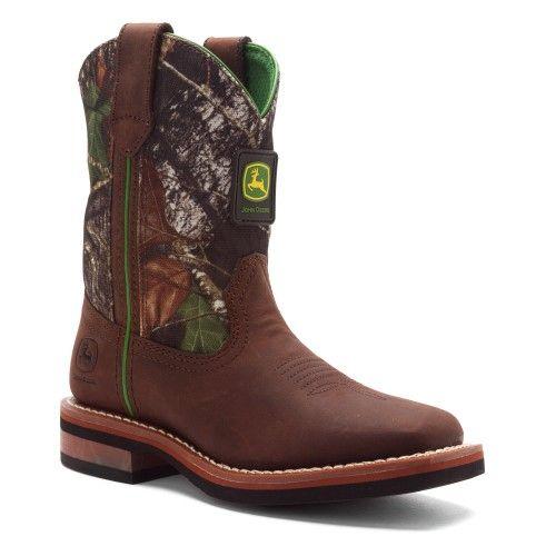 John Deere Boy's Western Wellington Brown/Mossy Oak™ Boots, Size: 11 M US Little Kid, Beige