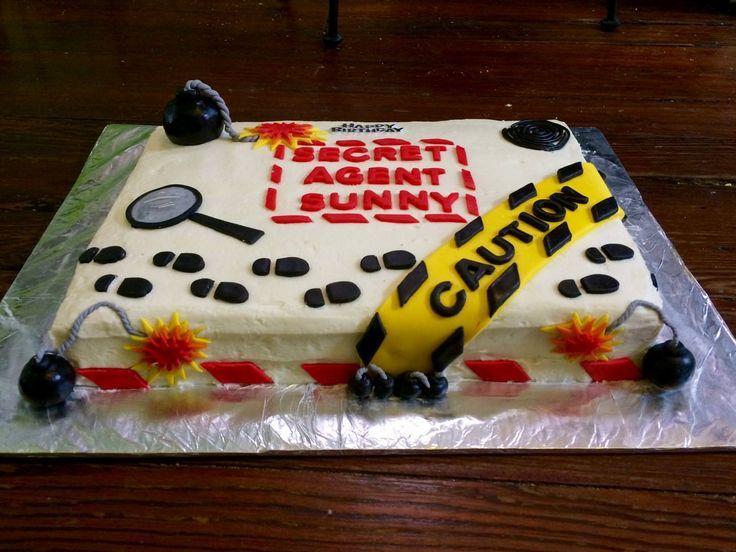 Cool Secret Agent Spy Birthday Cake Spy Birthday Parties Spy Cake Birthday Cards Printable Giouspongecafe Filternl