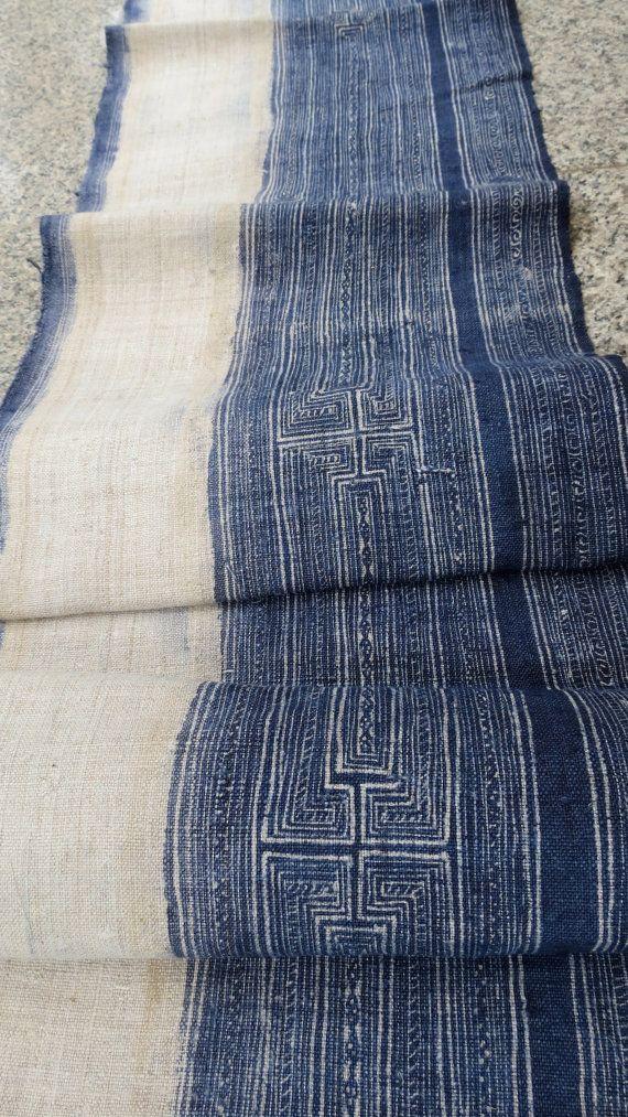 Handwoven hemp Vintage fabric Indigo Hmong Hemp