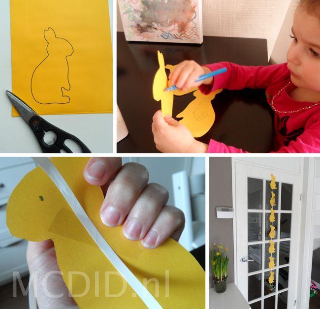 Een schattige konijntjesslinger voor pasen. Heel simpel, maar leuk voor de kindjes om te maken.