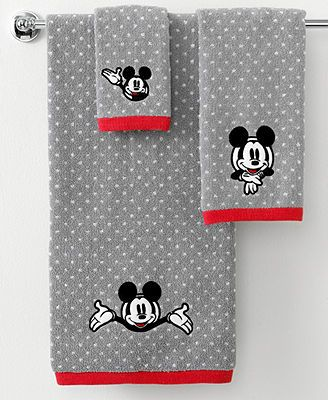 See you real soon! The ever-lovable Mickey Mouse steals the show in this bath towel from Disney, featuring a jacquard woven polka dot backdrop with an embroidered Mickey face. Finished with red trim.