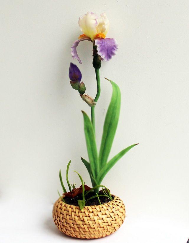 Керамическая флористика цветка Ириса из полимерной глины