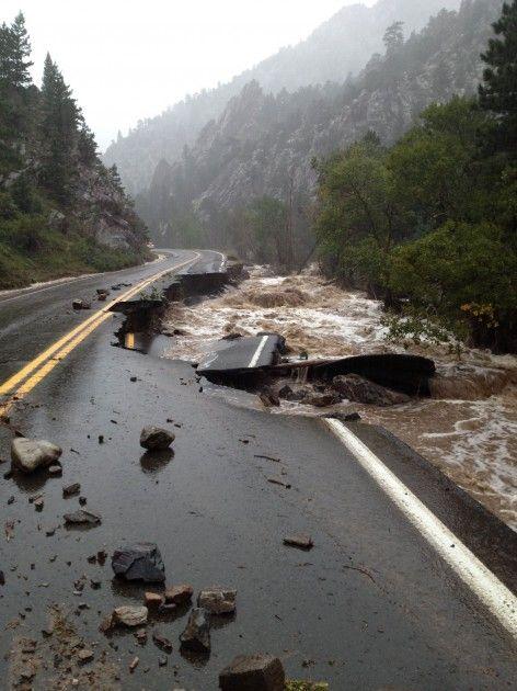 flood in loveland colorado   Road Destroyed by Flood - Colorado Department of Transportation via ...