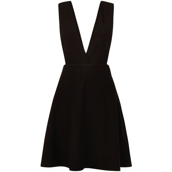 New Look Black Pleated Pinafore Dress (31 CAD) ❤ liked on Polyvore featuring dresses, black, pleated dresses, new look dresses and pinafore dress