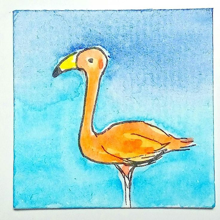 Day 98 #the100dayproject #the100dayprojectinchies #watercolor #flamingo