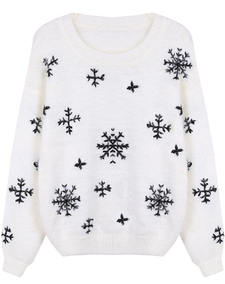 White Long Sleeve Snowflake Pattern Mohair Sweater EUR€24.70