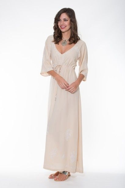 Ladli   Rani Dress Maxi – Beige & White