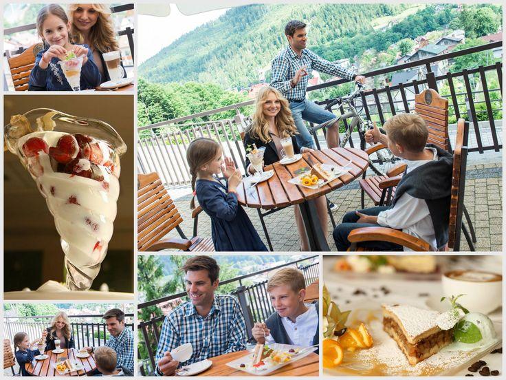 Jedząc deser na tarasie podziwiać można malownicze Beskidy, cudowne Skrzyczne. #Szczyrk #Beskidy #Skrzyczne