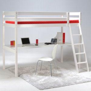 Lit mezzanine 90x190 cm + bureau + sommier en bois COLORADO