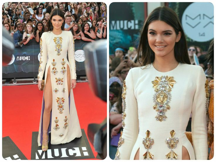 Kendall Jenner arrived at the 2014 MMVA red carpet in this jewelled Fausto Puglisi gown.