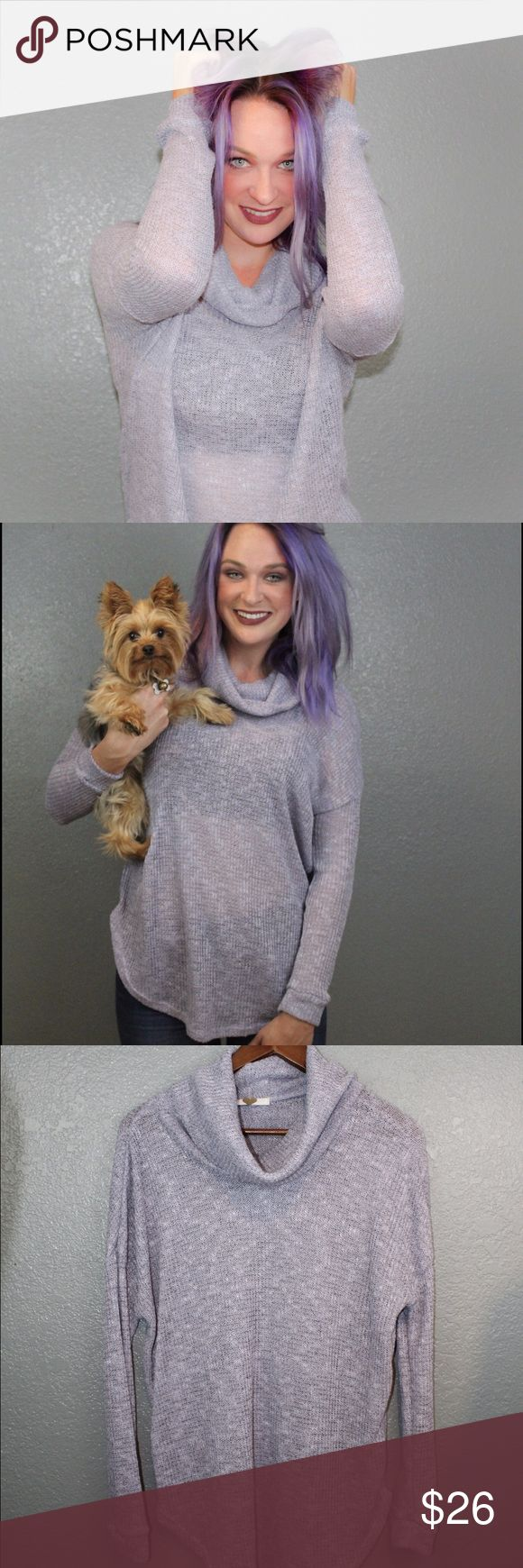 Lilac sweater Lilac soft light sweater made by Lush clothing ! This sweater is a must have this season :) Lush Sweaters Cowl & Turtlenecks