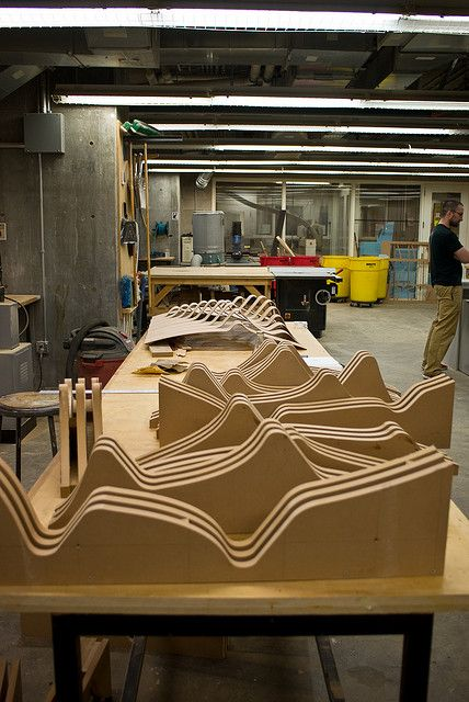 Moulds for bending plywood, more interesting shapes than simple curves can be easier to create using push moulds like these. The success would depend on the accuracy of the cuts.