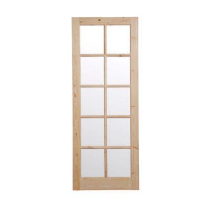 10 Lite Knotty Pine Fully Glazed Internal Door, (H)1981mm (W)838mm: Image 1