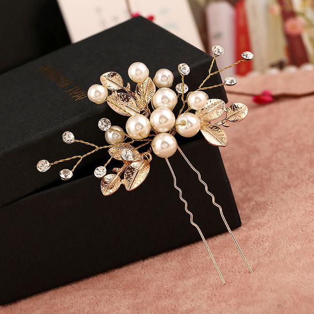 6 PCS Flor Folha de Ouro forma de U Varas Do Cabelo Pérola clipe Do Vintage Acessórios Do Casamento de Cristal de Noiva Alfinetes de Cabelo pedaço Cabeça jóias