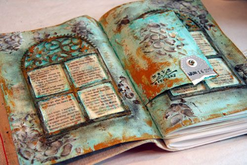 Fabulous journal pages from Donna Downey!  Watch her creative process on video!