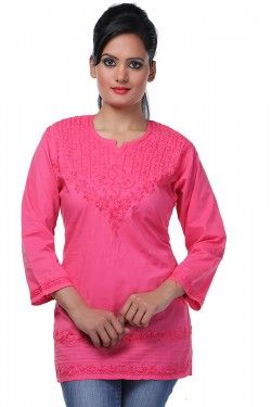 #Short Tops #Lucknowi Chikankari Carrot Pink Cotton Top by Ada Chikan Price: Rs 799 Buy now: https://goo.gl/uLHKRq #FreeShipping #WorldwideShipping #CashOnDelivery #EasyReturns # Product Code : A91221