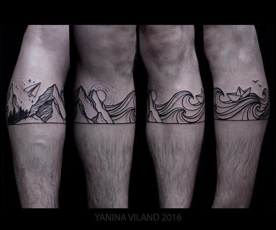 Yanina Viland Wellen und Berge Landschaft Blackwork Tatoo