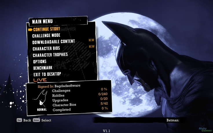 Batman: Arkham Asylum game menu interface
