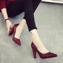 Женщина 10 см на высоких каблуках 2016 новых сексуальный красный высокие каблуки указала женская обувь прекрасно работать с простой указал обувь(China (Mainland))