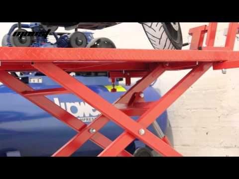 Mesa elevadora hidráulica neumática Moost para motos y quads - YouTube