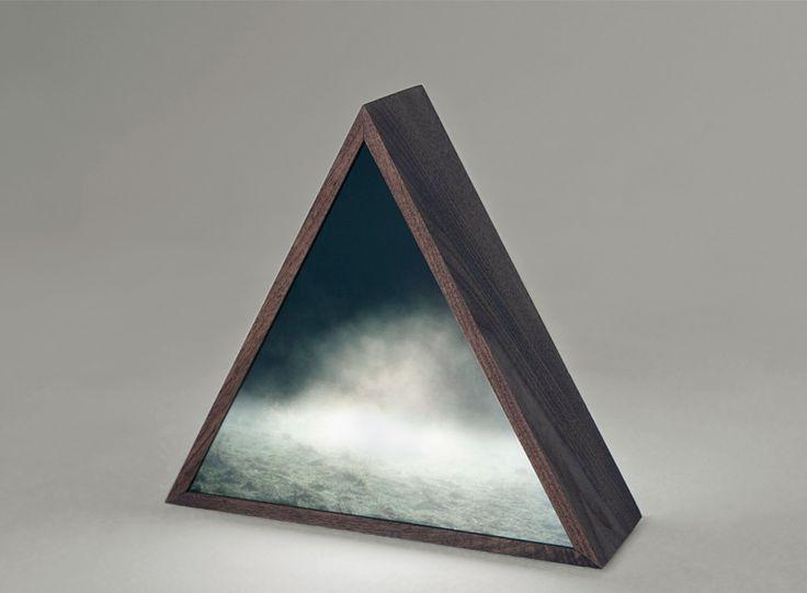 "Kirsten Kaythoen: ""fog field prism"" (2009) --   Duratranz, plexiglass, walnut and electronic components"