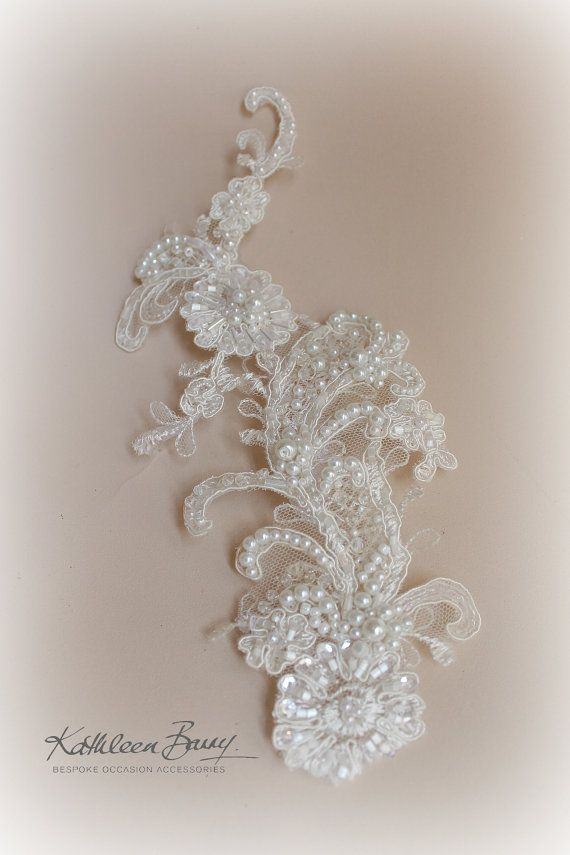 R750 Janette lace hairpiece Chantilly by KathleenBarryJewelry