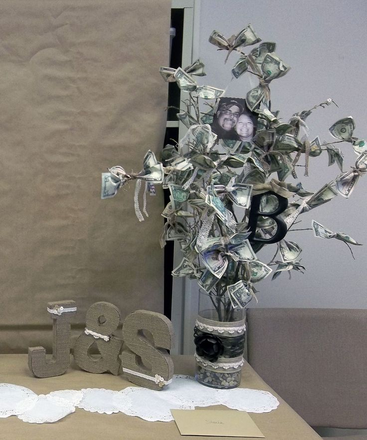 Bridal shower money tree turned out pretty good for Money bathroom decor