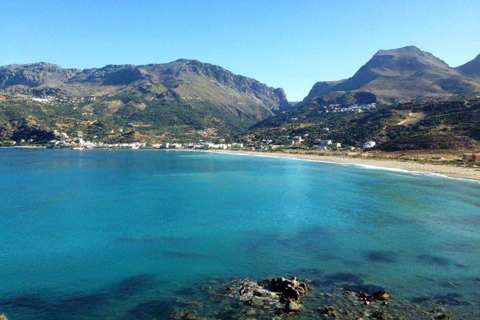 Die Bucht von Plakias und das Plakias Resort in Plakias im Süden von Kreta in Griechenland.